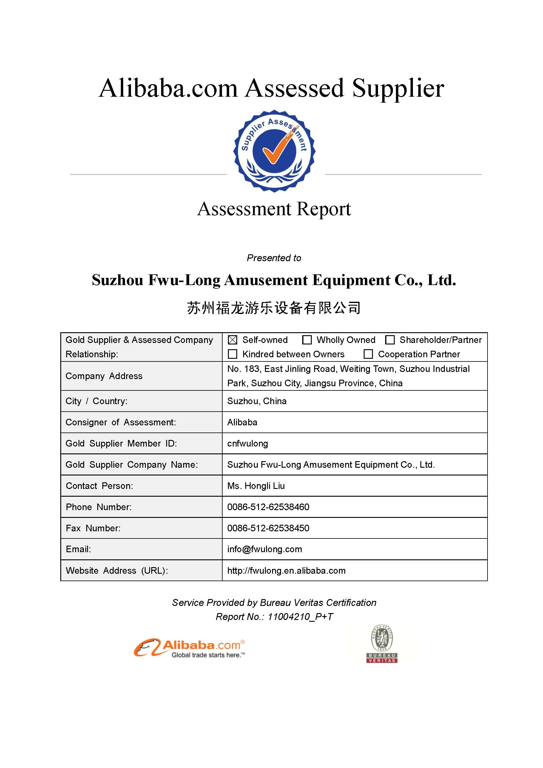 2016 Bureau Veritas Supplier Assessment Report